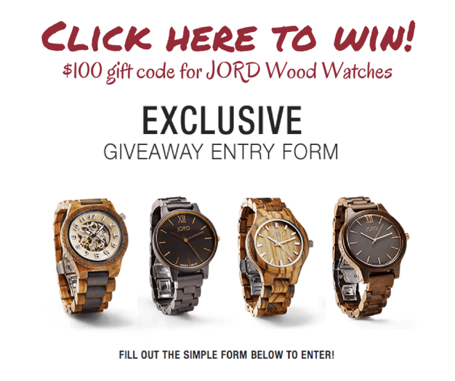 Click here to win a $100 gift code for a JORD wood watch!